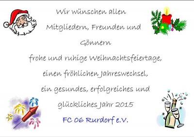 Wir wünschen allen Mitgliedern, Freunden und Gönnern frohe und ruhige Weihnachtsfeiertage . . .